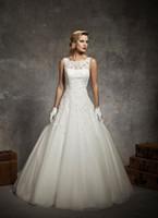 Wholesale 2014 sexy A line Bateau neck tight waist applique chapel train zipper back Elegant lace ivory organza designer wedding dresses bridal gown