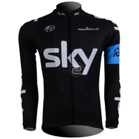 Tops Men Polyester Cycling Jersey 2013 SKY BLACK BLUE Cycling Long sleeve bike jersey men's bicycle wear Fleece Thermal Available maillot Tour de France