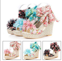 Women Spool Heel Medium(B,M) Factory Sell Fashion Bohemia High Wedge Heel Platform Sandals With Flower On Top Red Black Blue Women Summer Dress Shoes SA164