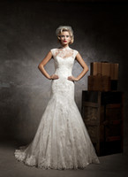 Castle Autumn/Spring Sexy 2013 fall Mermaid high collar sleeveless lace jacket covered button chapel train elegant lace ivory casual court wedding dresses bridal gown