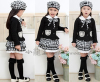 Girl Spring / Autumn Cotton Blends 2013 korean fall children Vintage plaid sets girls lapel collar Bow lace Pocket tops coat+plaid Layering Falbala lace skirt 1778free shippin