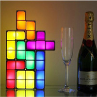 Wholesale 7 in Retro Game Style DIY Cube Tetris Creative Novelty Constructible Desk Lamp D Puzzle Night Light Stackable Game Cool Retail package