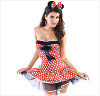 Wholesale Sexy Minnie Mickey Costumes Mouse Halloween Cosplay Fancy Up Outfit amp Ears Dress Belt