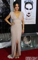 Wholesale Celebrity Dresses mila kunis v_neck_ ight pink dress black swan premiere in new york red carpet dress