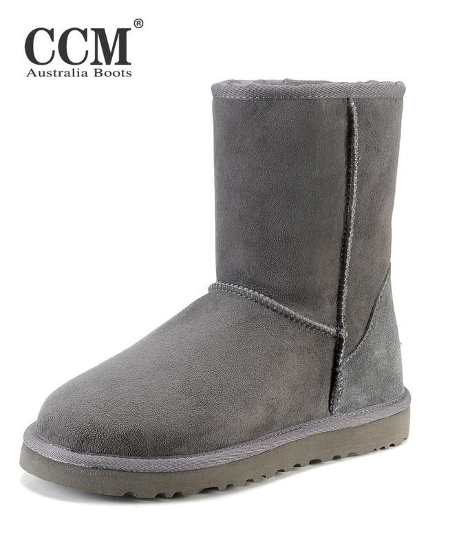 New Women Combat Boots CCM Light Grey Boots Genuine Leather Vamp ...
