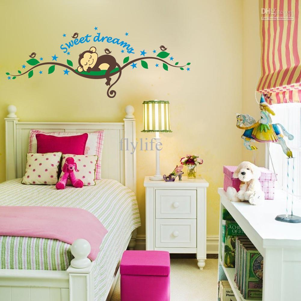 Dormire scimmia rimovibile stanza di bambini adesivi per pareti ...