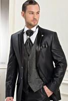 Polyester arab men - Custom made New Design Groom Tuxedos Best man Wedding Groomsman Suit Groomsman Black Bridegroom Suits Jacket Pants Tie Vest Arab