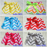 Pleated chevron dresses - Chevron tutu skirt pettiskirt baby girl striped Bow skirt kids girls TUTU dresses skirt garment