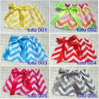 Pleated chevron dress - Chevron tutu skirt pettiskirt baby girl striped Bow skirt kids girls TUTU dresses skirt garment