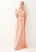 A-Line Sexy Ruffle 2014 Pink Elegant BoHo Chiffon Long Dress Lightweight Sundress Wedding party dress bridesmaid gown Plus sizes