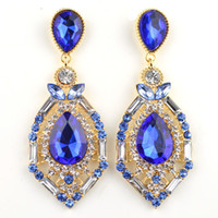 Wholesale luxury elegant gem rhinestone big fashion stud earrings colors Hot Sell Vintage Earings Accessories ER