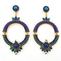 Wholesale Big handmade Vintage crystal hoop Earrings Maya style Jewelry loop New Hot Sell resin fashion ER