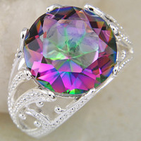 amazing xmas gifts - Fashion Europestyle Amazing Natural Stone Fire Mystic Topaz Silver Rings Xmas GIfts CR0059