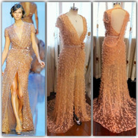 Sheath/Column Modern Sequins 2013 Fall New Arrival Luxurious Elie Saab Real Photo Short Sleeve Deep V-neck Orange Crystal Beaded Side Slit Evening Dress FR03