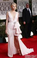 Wholesale Celebrity Dresses Elegent v neck floor length Pearl Pink Dress at Golden Globes Awards Red Carpet Dress