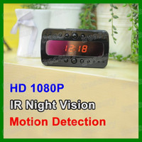 Wholesale New Arrival Full HD P Spy Clock Camera V26 IR Night Vision Alarm Clock Hidden DVR Recorder With Motion Detection Remote Control