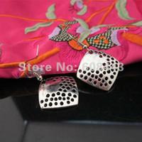 Women's Drop Earrings Earrings Charming Carved Square Tibetan Silver retro vintage exotic fashion drop pendant earring free shipping Women Girl's Jewellery