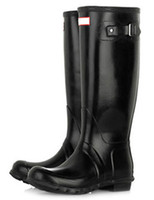 Wholesale Vintage Black Rubber Knee High Waterproof Women s Rain Boots shoes u7 DDu