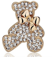 Wholesale Euro Fashion style Cute Style rhinestone sweet bear brooch casual women or men brooch Y043