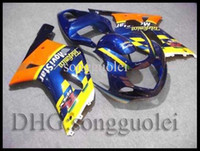 Wholesale HiQ uality GSXR600 GSXR750 Telefonica yellow blue Body Kit Fairing for Suzuki GSXR GSXR750 GSXR600