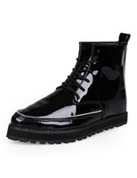 Wholesale Glitter Black Patent PU Leather Round Toe Fabulous Boots for Man u6 u1A