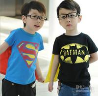 Unisex baby boy cloth batman - christmas baby cloth gift Halloween boys short sleeve t shirt Children superman batman tops Kids Summer fashion garment lcagmy T pc lot4