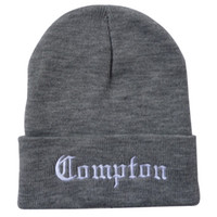 Compton Beanie Hats with Pom Black Grey Red Skullies Winter ...