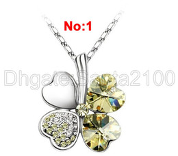2pcs Women's Four Leafed Clover Crystal Necklaces Pendants Fashion Luxury Jewelry Petal Heart Rhinestone 7 Colors To Choose