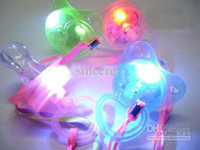 Wholesale 5 LED pacifier light pacifiers necklaces flash nipple pacifier whistle led whistle for Xmas