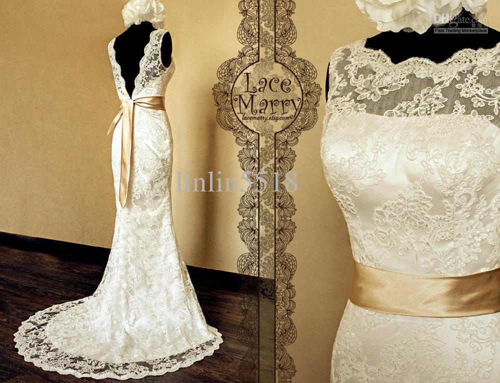 A line deep v cut back vintage style lace wedding dress for Cheap vintage style wedding dresses