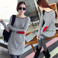 Wholesale 821 Fashion patch pregnant women loose long sleeved t shirt Korean version of the long section of pregnant women dress shirt