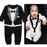Wholesale New Long sleeve gentleman Bow tie baby rompers black white colour boys jumpsuits year infant clothes Baby One Piece amp Romper sizes