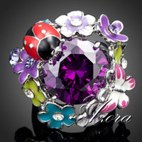 Women's beetle flower - Platinum Plated Purple SWA ELEMENTS Austrian Crystal Beetles and Butterflies and Flowers In a Ring Azora TR0029