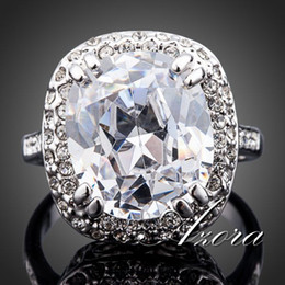 Ultra-big!!! White Gold Plated Royal Oval Cubic Zirconia Jewelry Ring FREE SHIPPING!(Azora TR0108)