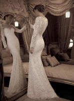 Wholesale Pretty Sexy Custom made Mermaid Wedding Dresses ILlusion Lace Wedding Dress Prom Gown with Long Sleeves Semi sheer Ltop fit