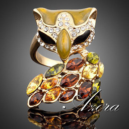18K Real Gold Plated SWA ELEMENTS Multicolour Austrian Crystal Black Color Eye Fox Ring FREE SHIPPING!(Azora TR0001)