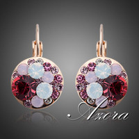 Wholesale The Garden Flowers K Gold Plated SWA ELEMENTS Austrian Crystal CHAMPAGNE GOLD Clip Earrings Azora TE0062