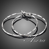 Wholesale 18K White Gold Plated Classic Round Hoop Earring Azora TE0024