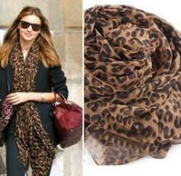 Wholesale Hot Pop Fashion Women Lady Leopard Print Soft Shawl Muslin Scarf Wrap Long Pashmina Stole a008