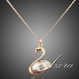 New 18K Rose Gold Plated SWA ELEMENTS Austrian Crystals Swan Pendant Necklace FREE SHIPPING!(Azora TN0010)