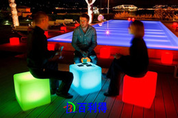 Wholesale New Fashion lighting furniture plastic LED bench Square CM bench RGB bench bar garden decor set