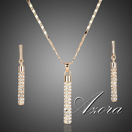 Wholesale 18K Real Gold Plated SWA ELEMENTS Drop Earrings and Pendant Necklace Sets Azora TG0007
