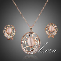 Women's Wedding Jewelry Sets 18K Rose Gold Plated SWA ELEMENTS Austrian Crystal The Carp Clip Earrings and Pendant Necklace Set FREE SHIPPING!(Azora TG0018)