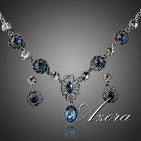Anniversary ancient elements - Exclusive Ancient Silver Plated Bule SWA Element Austrian Crystal Earrings and Necklace Set Azora TG0034