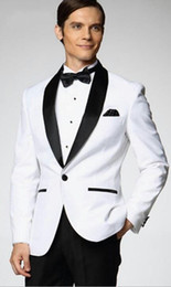 Wholesale Top selling White Jacket With Black Satin Lapel Groom Tuxedos Groomsmen Best Man Suit Men Wedding Suits Jacket Pants Bow Tie Girdle A1