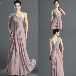 Graceful One Shoulder Crystals Beading Floor Length Chiffon Formal Evening Dress Mother of the Bride Dress