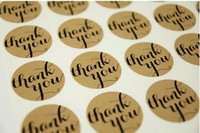 Wholesale Thank You Typeface Brown Kraft Stickers For Envelopes Card Bag sealing sticker