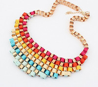 Wholesale HC Europe Style Colors Promotion Jewelry Bubble Bib Statement Necklaces Choker Colorfull Resin Bead Necklaces For Ladies