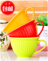 Cheap Cup ceramic large capacity bowl instant noodles bowl snack cup mug candy color