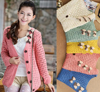 Wholesale Korean women fashion bowknot colors long sleeved hollow out sweaters cardigan lovely outerwear